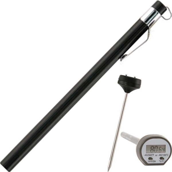 Digital Lcd Meat Thermometer With Pocket Sleeve And Clip Photo