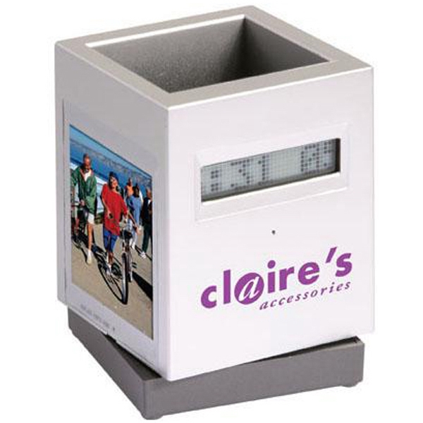 Scrolling Message Photo Frame And Pen Holder With Alarm Clock Photo
