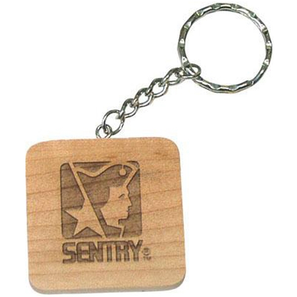 Rosewood - Square Shape Solid Wood Key Tag Photo