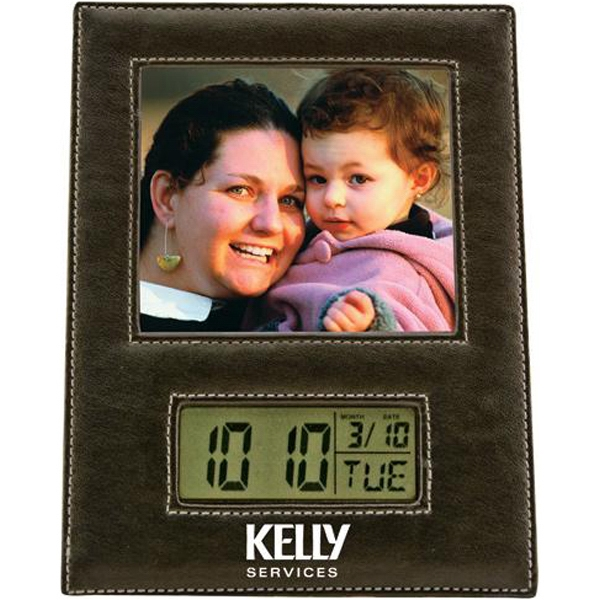 Leather Photo Frame With Lcd Clock Photo