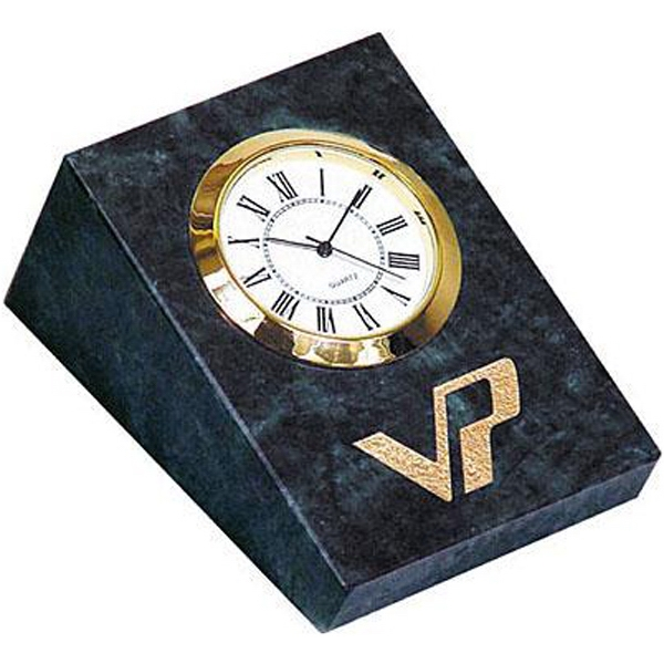 Green Hualien Marble Wedge Shape Desk Clock Photo