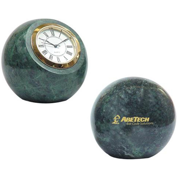 Green Hualien Marble Ball Desk Paperweight With Quartz Analog Clock Photo