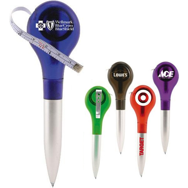 Lollipop Shaped Ballpoint Pen With Tape Measure Photo