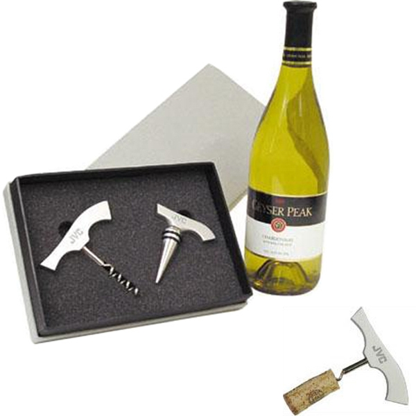 Aluminum Corkscrew And Wine Stopper Gift Set Photo
