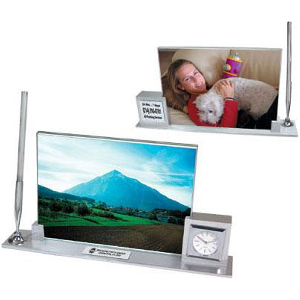 Aluminum Executive Photo Desk Set With Clock Photo