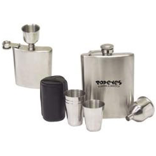 Seven Piece Stainless Steel Hip Flask Set Photo