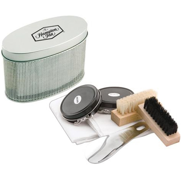 Shoe Shine Kit With Polish, Two Brushes, Two Polishing Cloths And Shoehorn Photo