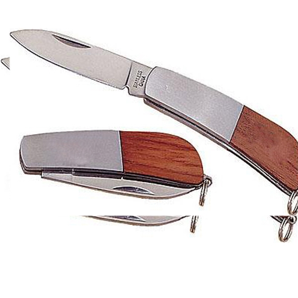 Stainless Steel Pocket Knife With Single Straight Blade, Solid Walnut Trim Photo