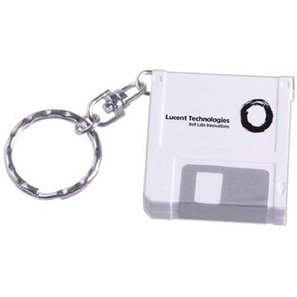 Computer disk shaped tape measure keychain - Computer disk shaped 3' tape measure with key ring.