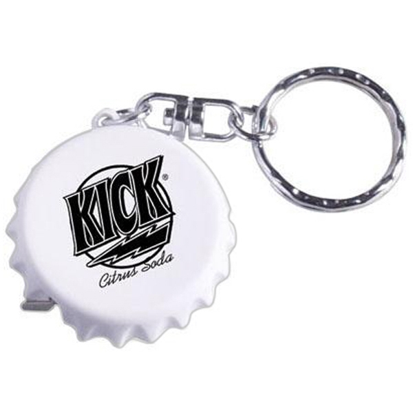 Bottle Cap Shaped Key Ring With 3' Metal Tape Measure Photo