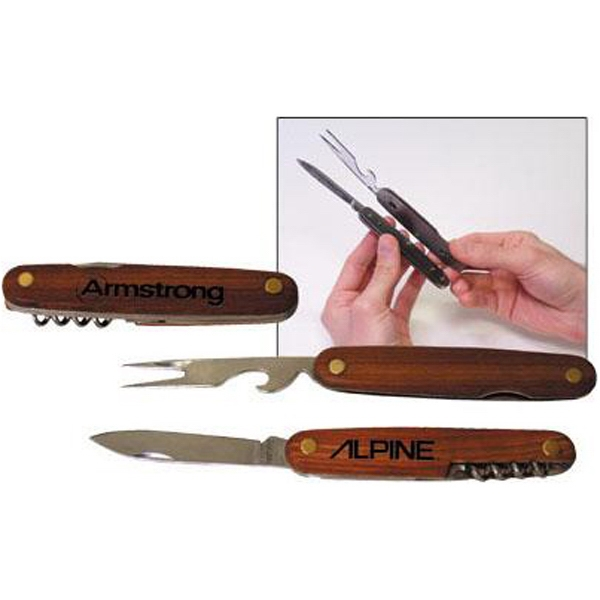 Stainless Steel Camping Knife With Wooden Handle Photo