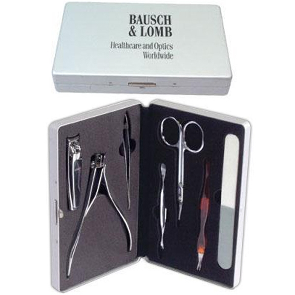 Seven Piece Manicure Set In A Hinged Aluminum Case With Black Felt Lining Photo