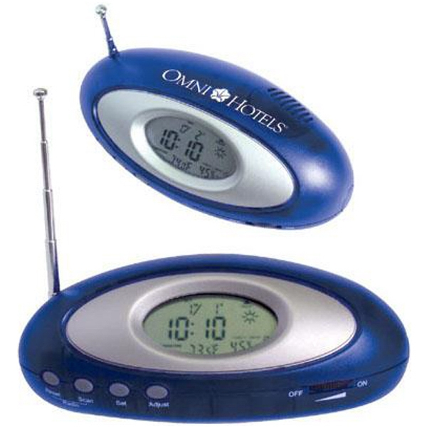 Oval Radio With Clock With Translucent Blue Case With Metallic Silver Trim Photo