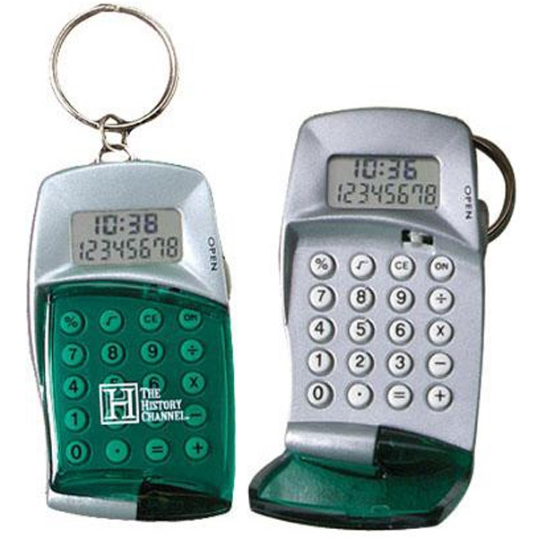 Calculator With Clock Keyring And Transparent Flip Top Photo