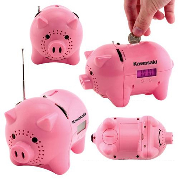 "AM/FM clock radio piggy bank with ""oink"" sound - AM/FM clock radio piggy bank with ""oink"" sound."