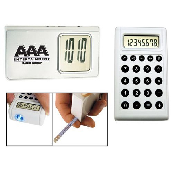 5-in-1 Calculator Alarm Clock With Light And Tape Measure Photo