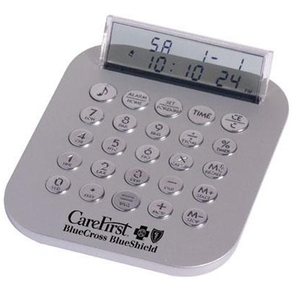 Metallic Calculator Travel Clock With Translucent Lcd And Chrome Keys Photo