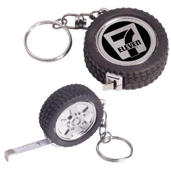 Unique 3' Tire Shaped Tape Measure Key Ring Photo