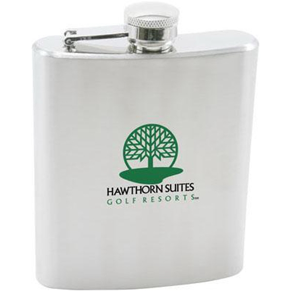 Brushed Stainless Steel 7 Oz. Hip Flask With Screw-on Top Photo