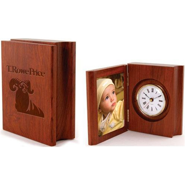 "3 1/4"" x 4 1/4"" solid rosewood folding photo frame clock - Rosewood book shaped photo frame with clock."