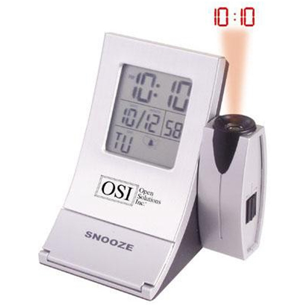 Radio Controlled Aluminum Projector Alarm Clock With Large Lcd Screen Photo