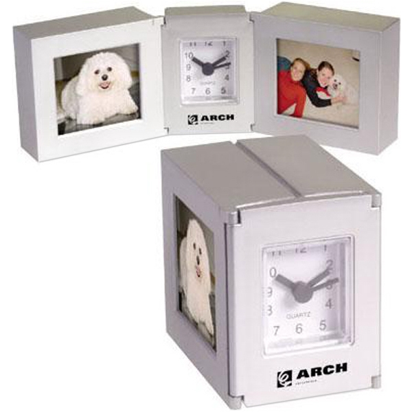 Folding Cube Clock With Dual Photo Frames Photo