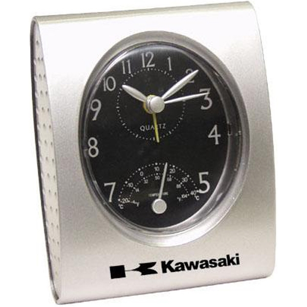 Retro - Silver Desk Clock With Temperature And Alarm Photo