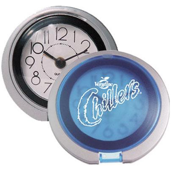 Trendy Two Tone Flip Open Travel Alarm Clock, Doubles As A Desk Model Photo