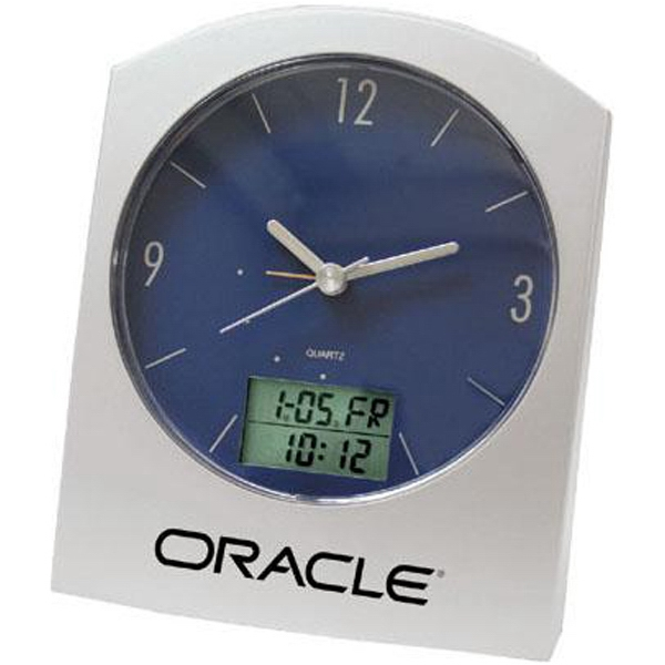 Dual Time Digital And Analog Desk Clock Features A Blue Dial With Silver Hands Photo