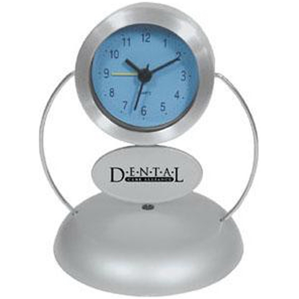Rotating Ad Aluminum Desk Clock With Second Hand And Alarm Photo