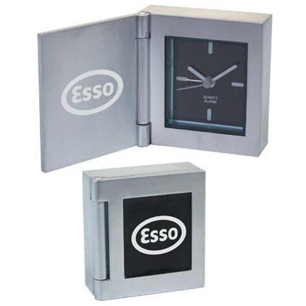 Solid Cast Aluminum Flip Open Desk Clock With Alarm, Square Shape Photo