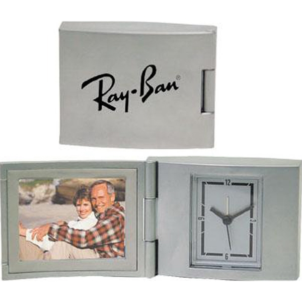 "Die Cast Aluminum 2"" X 1 1/2"" Photo Frame Alarm Clock With Second Hand Photo"