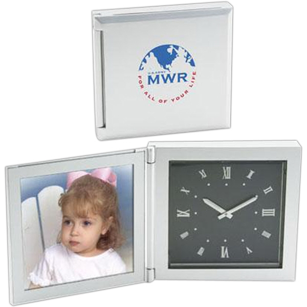 "Die Cast Aluminum Clock With Photo Frame, Fits A 3 1/2"" X 3 1/2"" Photo Photo"