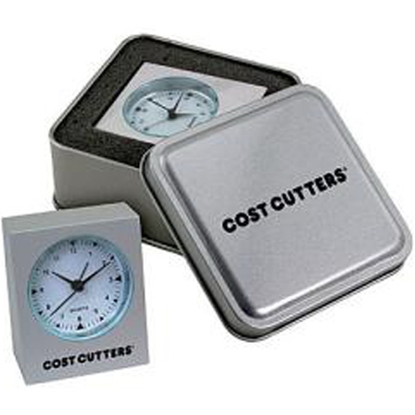 Miniature Cast Aluminum Desk Alarm Clock Set In Steel Tin, Battery Included Photo