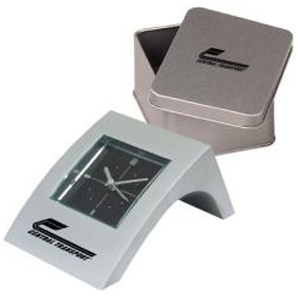 Miniature Aluminum Alarm Clock With Angled Case, Matching Tin Box Photo