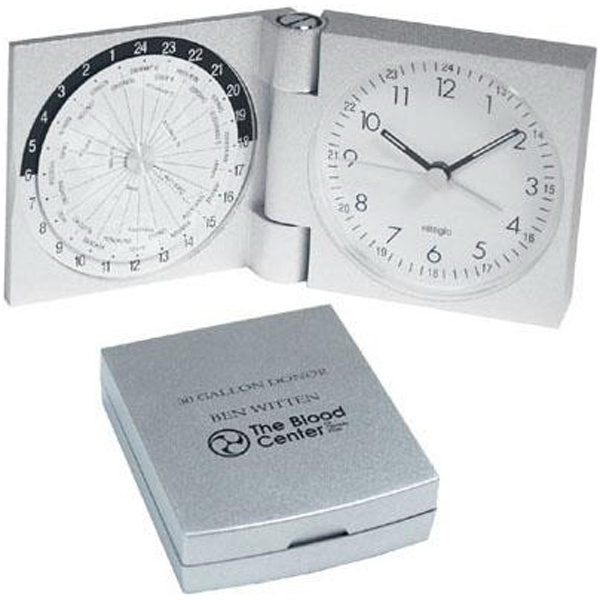 Aluminum World Travel Alarm Clock With Glow In The Dark Dial Photo