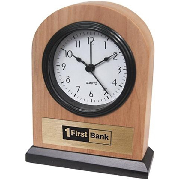 "Solid Ash Alarm Clock With Rounded Top And 3"" X 1"" Gold Plate Photo"