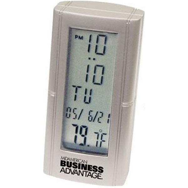 Die Cast Metal Clock With Thermometer And Alarm Function Photo