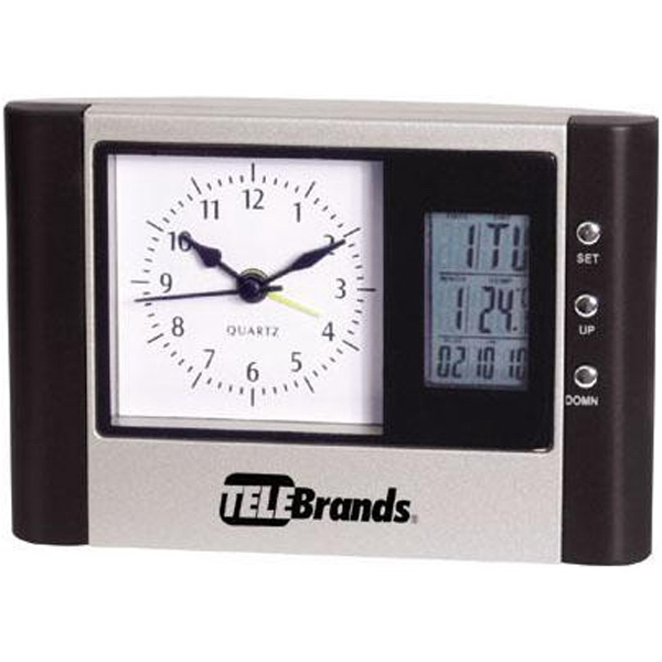 Desk Clock With Analog And Digital Display, And Thermometer Photo
