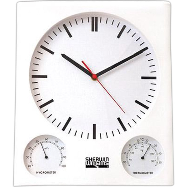 White Wall Clock With Thermometer And Hygrometer, Batteries Included Photo