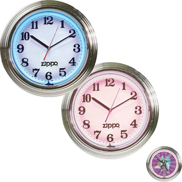 Chrome Plated, 2-color Flashing Neon Wall Clock With Second Hand Photo