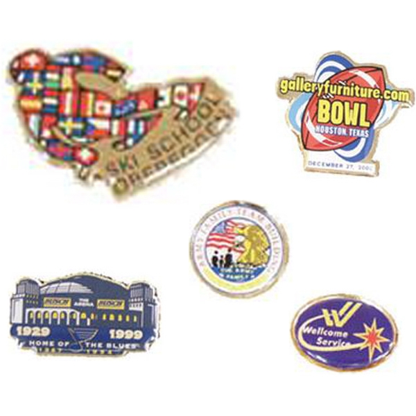 "1 1/4"" - Four Color Lapel Pin With A Military Clutch Back Photo"