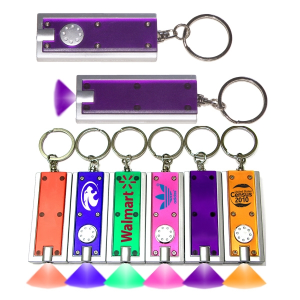 Slim rectangular flashlight swivel keychain