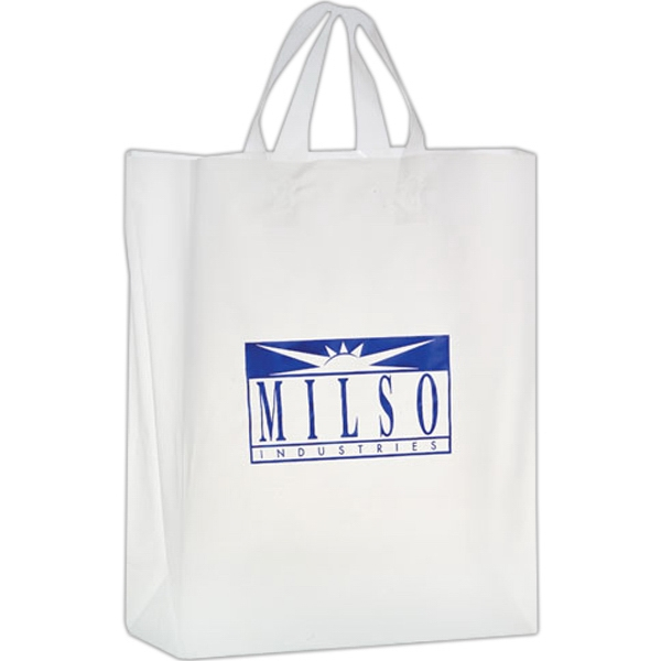 Clear Frosted Soft Loop Shopper Bag w/ Insert - Foil Stamp