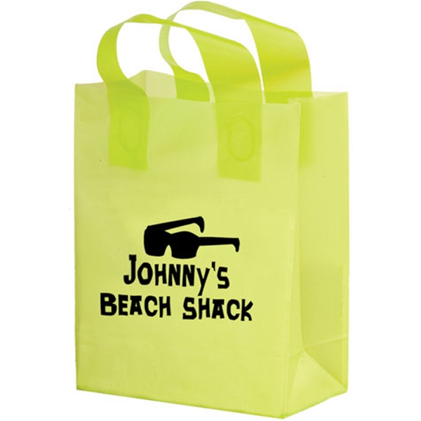 Color Frosted Soft Loop Shopper Bag with Insert - Flexo Ink