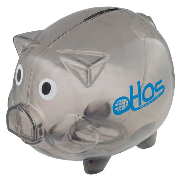 Plastic Desktop Piggy Bank With Twist Open Bottom To Access Stored Change Photo