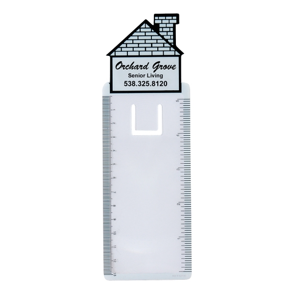 Bookmark Magnifier 5 In - 13 Cm Ruler (house Shape) Photo