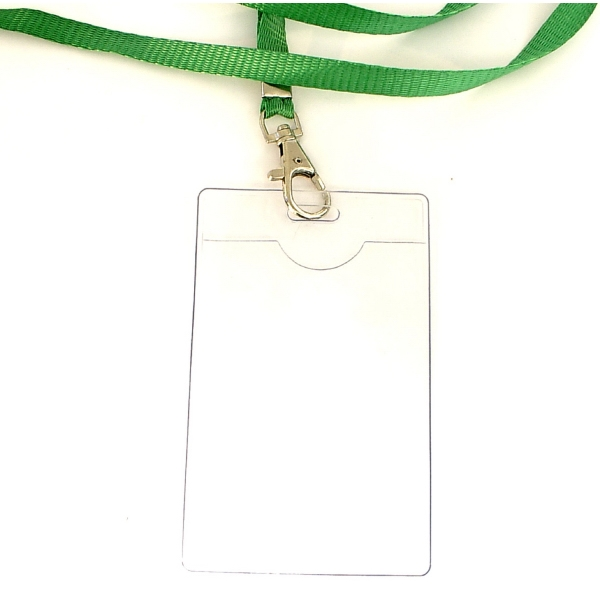 Clear vinyl badge holder with lanyard