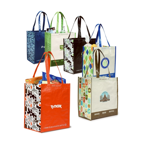 Black - Laminated 100% Recycled Pet Fabric Shopper Bag With Pattern Photo