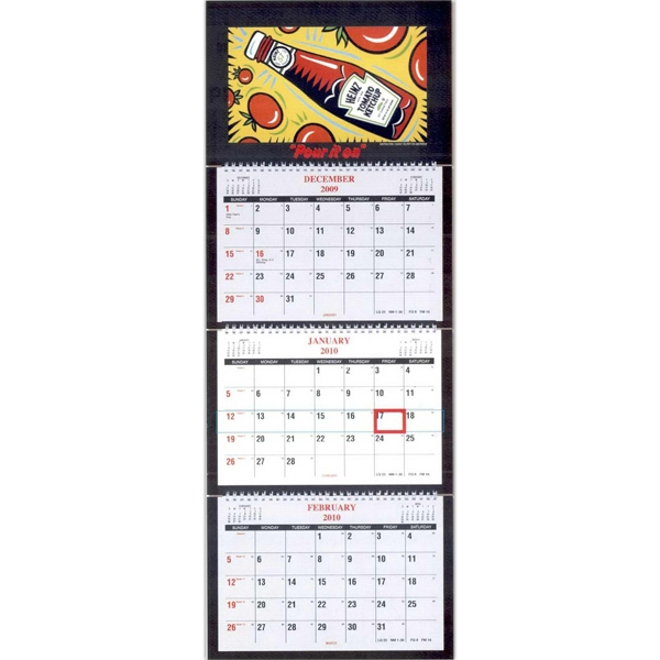 Four Panel Custom Wall Calendar With Three Separate Monthly Pads Photo